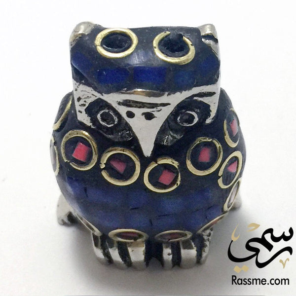 Owl incense holder Metal with stones - in Jordan