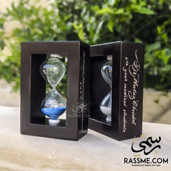 Hourglass Sand Clock Wooden Frame - Free Engraving - Rassme