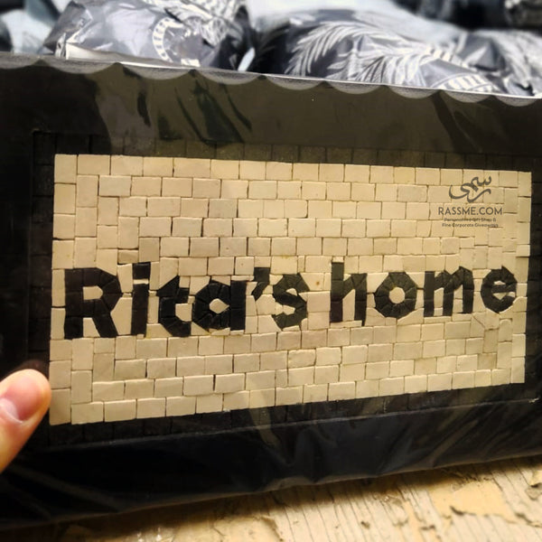 Door Home Name Sign Hanging Wooden Customized Natural Color Stone Mosaics Handcrafted - in Jordan