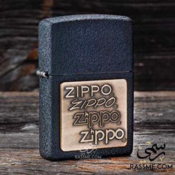 Black Crackle Brass Zippo Logo - Zippo Lighters In Jordan - in Jordan