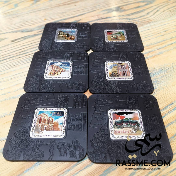 Souvenir from Jordan Cities Black Coasters - in Jordan
