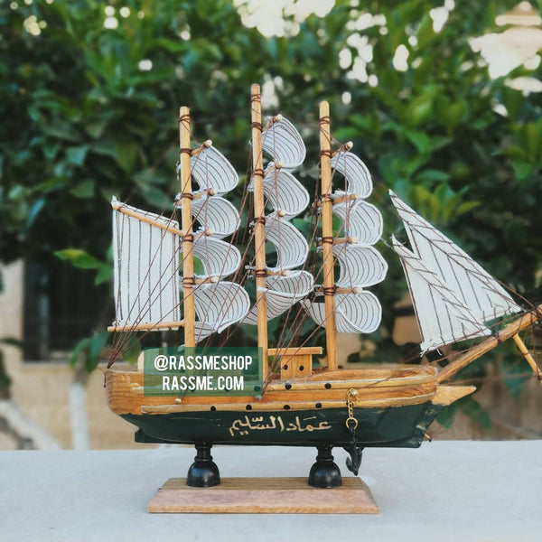 Handicraft Antique Wooden Ship - Free Engraving