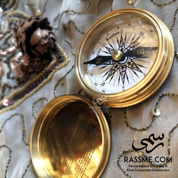 Personalized Polished Solid Brass Compass - in Jordan