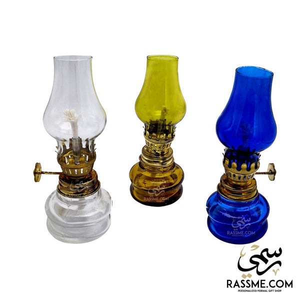 Brass And Glass Wick Oil Lamp - Rassme