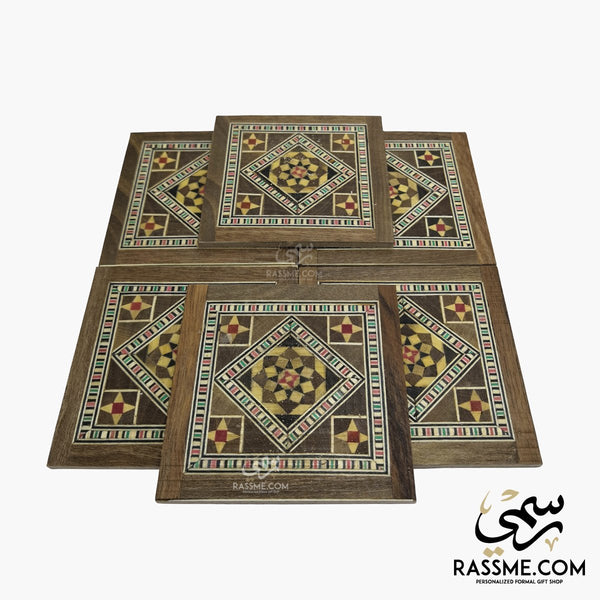Wooden Set Mosaic Syrian Coasters Square - 6 Pcs