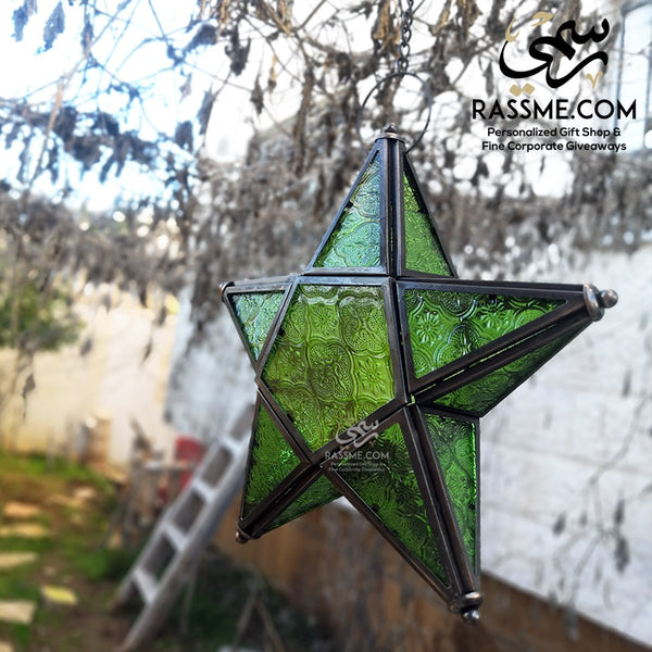 Iron With Glass Star Shaped Lantern Lamp / Candle - Rassme