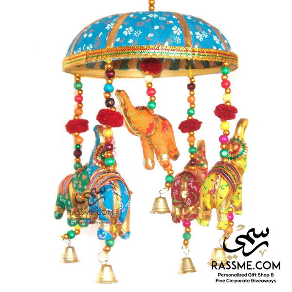 Handicrafts Elephant Turquoise Umbrella Hanging Layer of Five Elephant - Rassme