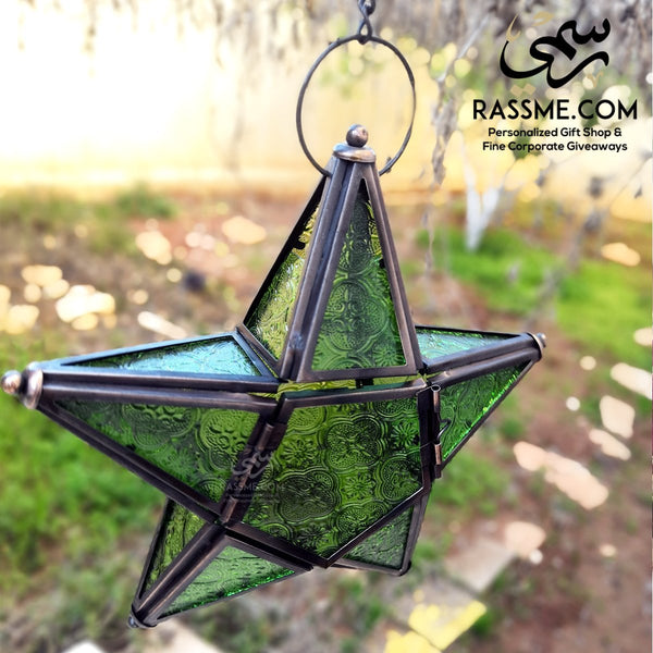 Iron With Glass Star Shaped Lantern Lamp / Candle - in Jordan