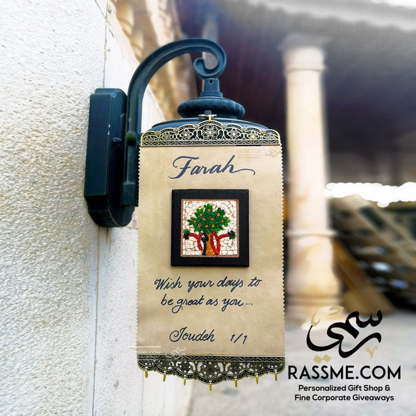 Personalized Leather Scroll Tree Message - in Jordan