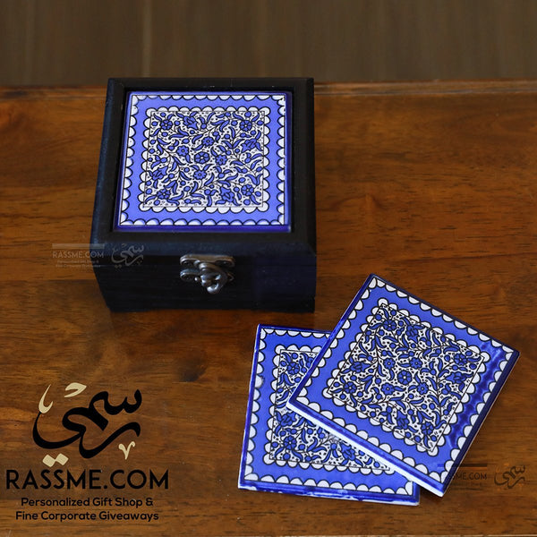 Personalized Wooden Box Ceramic Palestinian Coasters Set Pottery