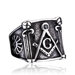 HOT SALE - Retro Stainless Steel Master Mason Signet - Free Masonic Ring RING - Masonic Jewelry Free Masonic Ring - FreeMasonicRing.com