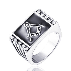 Classical Stainless Steel Master Mason Signet Ring with Stone inlay - Free Masonic Ring RING - Masonic Jewelry Free Masonic Ring - FreeMasonicRing.com