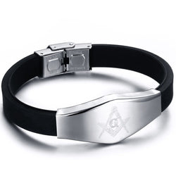 Stainless Steel Black Silicone Masonic Mason Master Bangle Bracelet - Free Masonic Ring Bracelet - Masonic Jewelry Free Masonic Ring - FreeMasonicRing.com