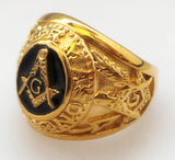 Stainless Steel Gold Plated Master Mason Signet - Free Masonic Ring RING - Masonic Jewelry Free Masonic Ring - FreeMasonicRing.com
