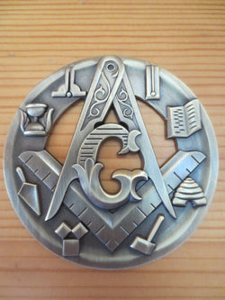 Masonic Auto Car Emblem Compass And Square Tools hollow out 3D 3'' antique design - Free Masonic Ring Car Emblem - Masonic Jewelry Free Masonic Ring - FreeMasonicRing.com