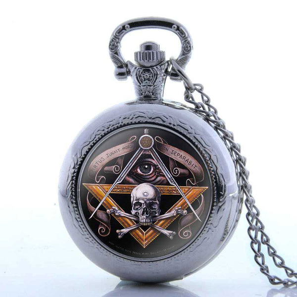 Antique Bronze Skull Quartz Master Mason Pocket Watch  Necklace - Free Masonic Ring Pocket Watch - Masonic Jewelry Free Masonic Ring - FreeMasonicRing.com