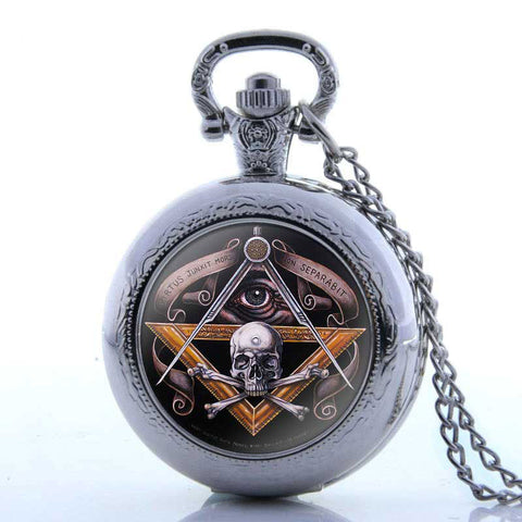 Antique Bronze Skull Quartz Master Mason Pocket Watch Necklace