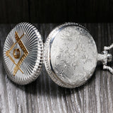 Classic Master Mason Silver and Golden Pocket Watch - Free Masonic Ring Pocket Watch - Masonic Jewelry Free Masonic Ring - FreeMasonicRing.com