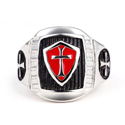 Stainless Steel Crusader Shield Knights Templar Ring - Free Masonic Ring Ring - Masonic Jewelry Free Masonic Ring - FreeMasonicRing.com