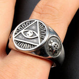 Size 7-15 All Seeing Eye of God Ring Retro Vintage Religious Christian Signet Cocktail Biker Signet - Free Masonic Ring  - Masonic Jewelry Free Masonic Ring - FreeMasonicRing.com