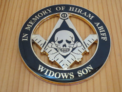 Widows Son Hiram Abiff Universal Car Emblem - Free Masonic Ring Car Emblem - Masonic Jewelry Free Masonic Ring - FreeMasonicRing.com