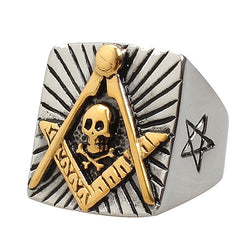 Freemasonicring Skull & Crossbone Square Freemason Ring - Free Masonic Ring  - Masonic Jewelry Free Masonic Ring - FreeMasonicRing.com