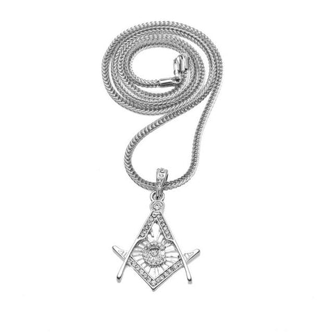 Bling Bling Freemason Pendant - Free Masonic Ring Pendant & Charms - Masonic Jewelry Free Masonic Ring - FreeMasonicRing.com