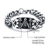 Mens Vintage Style High Polished Freemason Bracelet - Free Masonic Ring Bracelet - Masonic Jewelry Free Masonic Ring - FreeMasonicRing.com