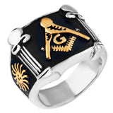 Gold/Silver Plated Freemason Pillar Ring - Free Masonic Ring RING - Masonic Jewelry Free Masonic Ring - FreeMasonicRing.com