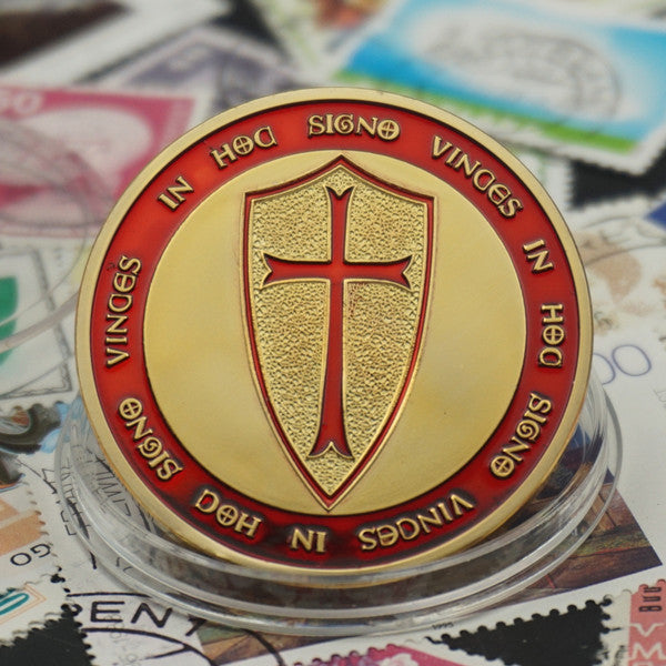 The Knights Templar Crusader Cross Christ Soldier's Souvenir Coin - Free Masonic Ring Collectible Coin - Masonic Jewelry Free Masonic Ring - FreeMasonicRing.com