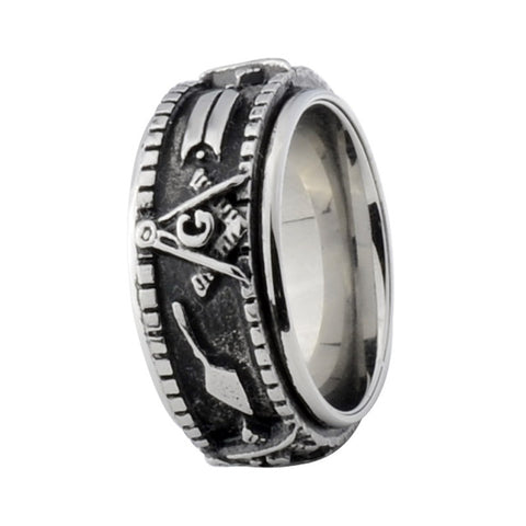 Antiqued Style Freemason Band 3 Variants - Free Masonic Ring  - Masonic Jewelry Free Masonic Ring - FreeMasonicRing.com