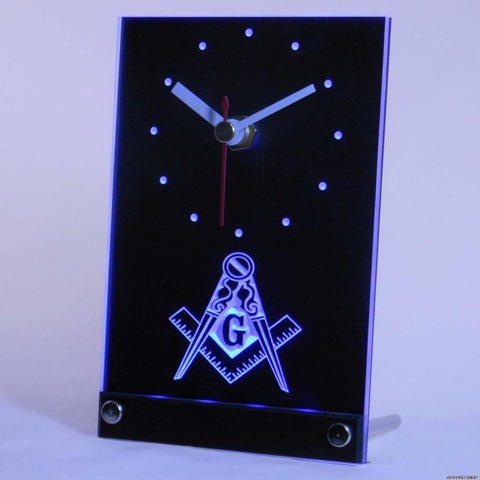 Freemason 3D LED Desk Clock - Free Masonic Ring Clock - Masonic Jewelry Free Masonic Ring - FreeMasonicRing.com