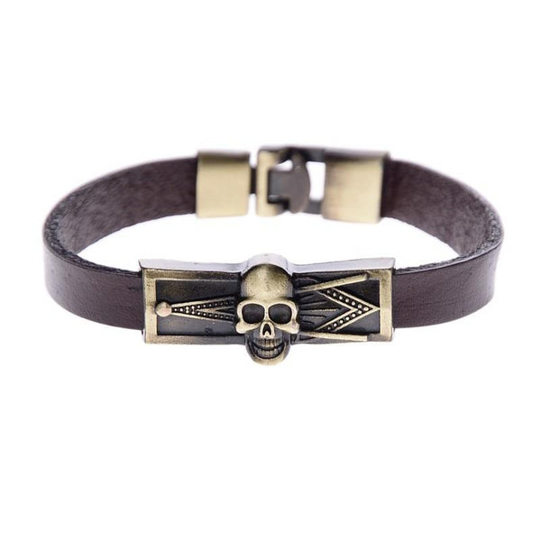 Antique Freemasonry Leather Skull Bracelet - Free Masonic Ring  - Masonic Jewelry Free Masonic Ring - FreeMasonicRing.com