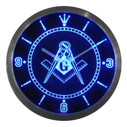 Freemason Neon LED Wall Clock - Free Masonic Ring Wall Clock - Masonic Jewelry Free Masonic Ring - FreeMasonicRing.com