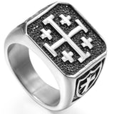 Medieval Stainless Steel Knights Templar Jerusalem Cross Signet - Free Masonic Ring RING - Masonic Jewelry Free Masonic Ring - FreeMasonicRing.com