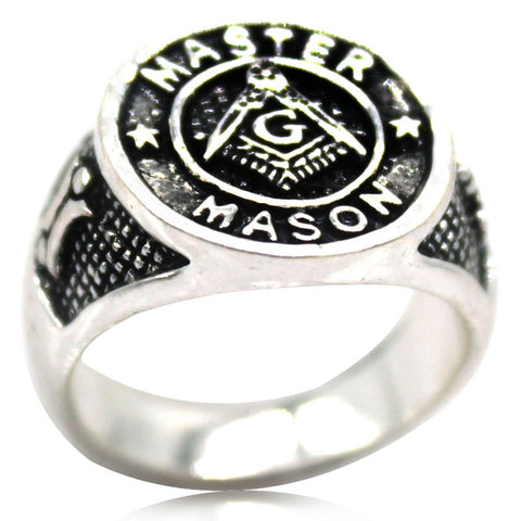 Silver Antique Master Mason Signet - Free Masonic Ring RING - Masonic Jewelry Free Masonic Ring - FreeMasonicRing.com