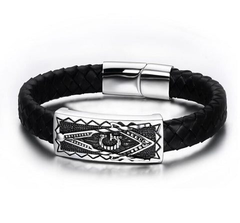 Freemason Leather Bracelet - Free Masonic Ring Bracelet - Masonic Jewelry Free Masonic Ring - FreeMasonicRing.com