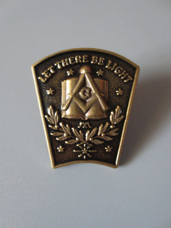 "Antique Bronze Masonic Lapel ""Let there be light"" - Free Masonic Ring Pins - Masonic Jewelry Free Masonic Ring - FreeMasonicRing.com"