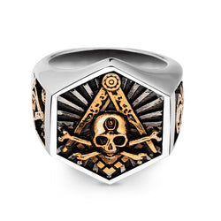 Freemason Skull & Bones Hexagon Stainless Steel Ring - Free Masonic Ring  - Masonic Jewelry Free Masonic Ring - FreeMasonicRing.com