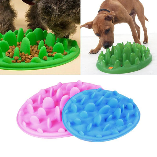 Portable silicone slow feeder dog bowl