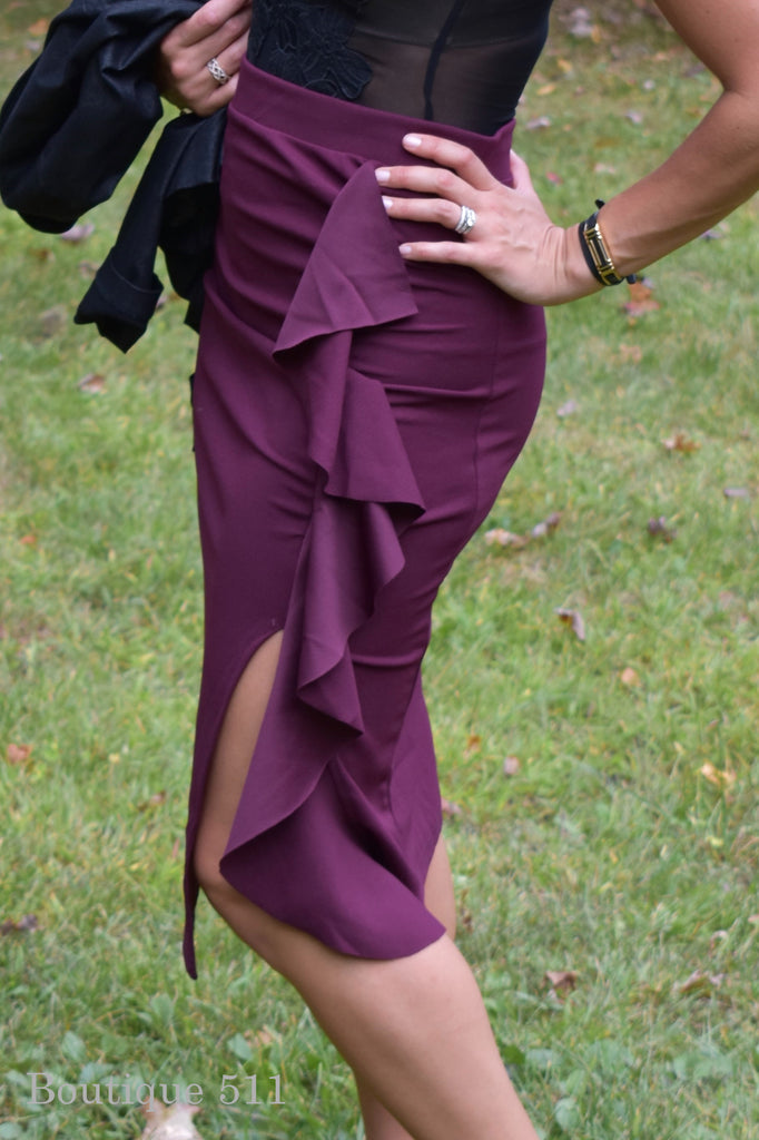 Wine Ruffle Midi Skirt