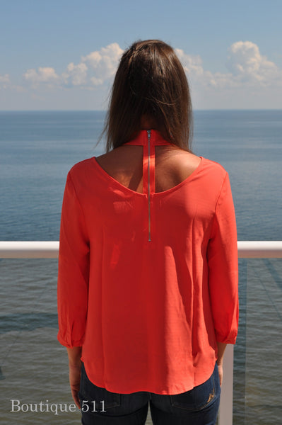 Coral Long Sleeve Dress Top