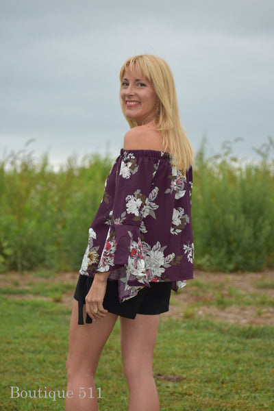Floral Plum Off Shoulder Top