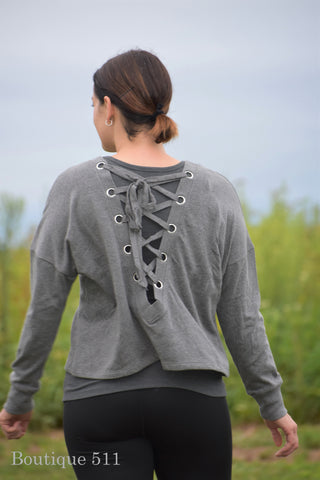 Grey Back Lace Up Sweatshirt