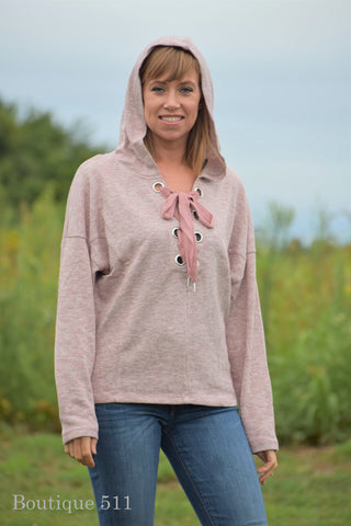 Dusty Pink Lace Up Hoodie