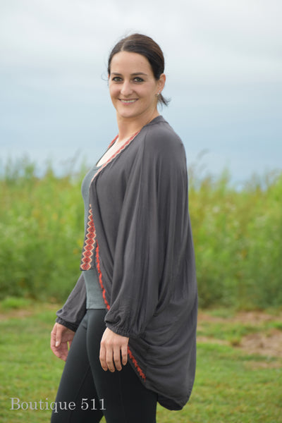 Charcoal Bishop Sleeve Cardigan With Embroidered Trim