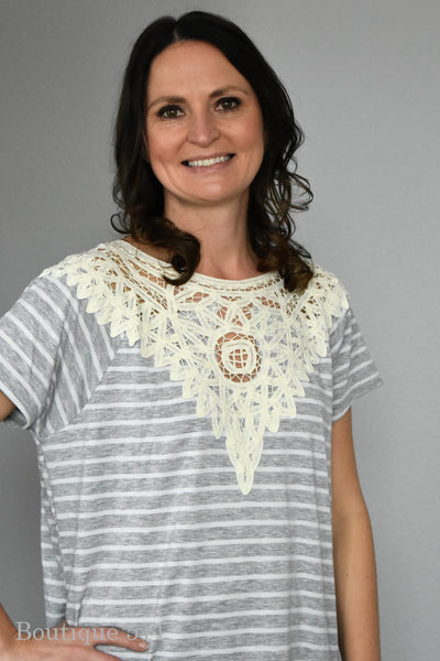Lace and Stripe Heather Grey Top