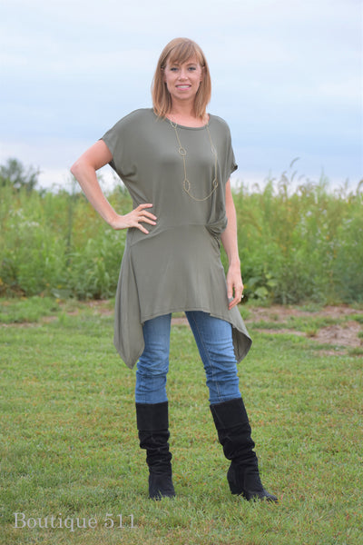 Olive High/Low Tunic Top