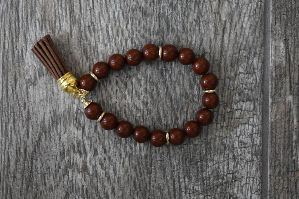 Brown Beaded Bracelet with Tassel