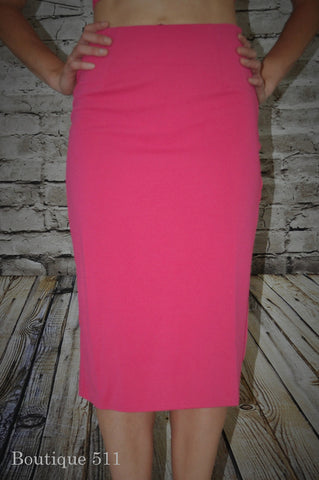 Fuschia Mid-Length Pencil Skirt